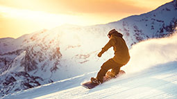 Snowboarding in Sunset