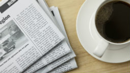 Allianz - newspaper and coffee